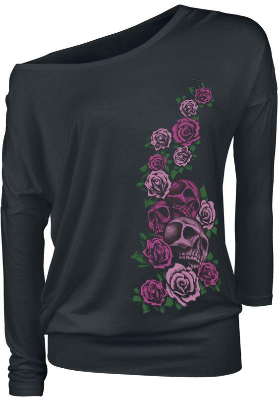 schwarzes Langarmshirt mit Print und Rundhalsausschnitt