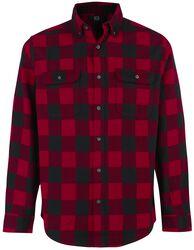Schwarz/rot kariertes Langarmhemd mit Brusttaschen