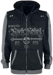 Schwarze Kapuzenjacke mit Rock Rebel und Skull-Prints