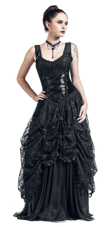Kleider - Sinister Gothic Longdress Langes Kleid schwarz  - Onlineshop EMP