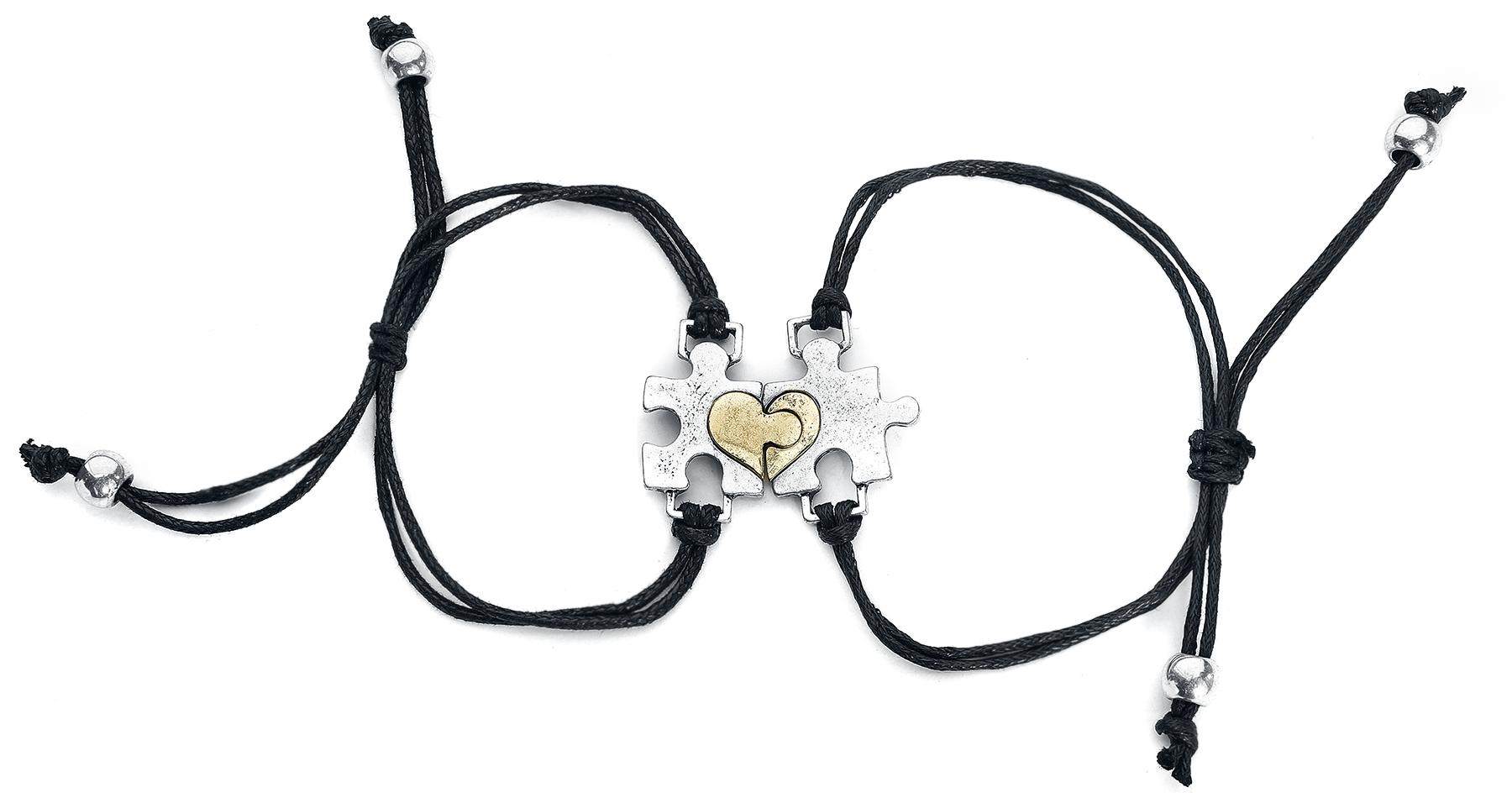 Image of Blackheart Puzzle Armband-Set schwarz/silber
