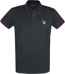 Schwarzes Poloshirt mit Stickerei und roten Details