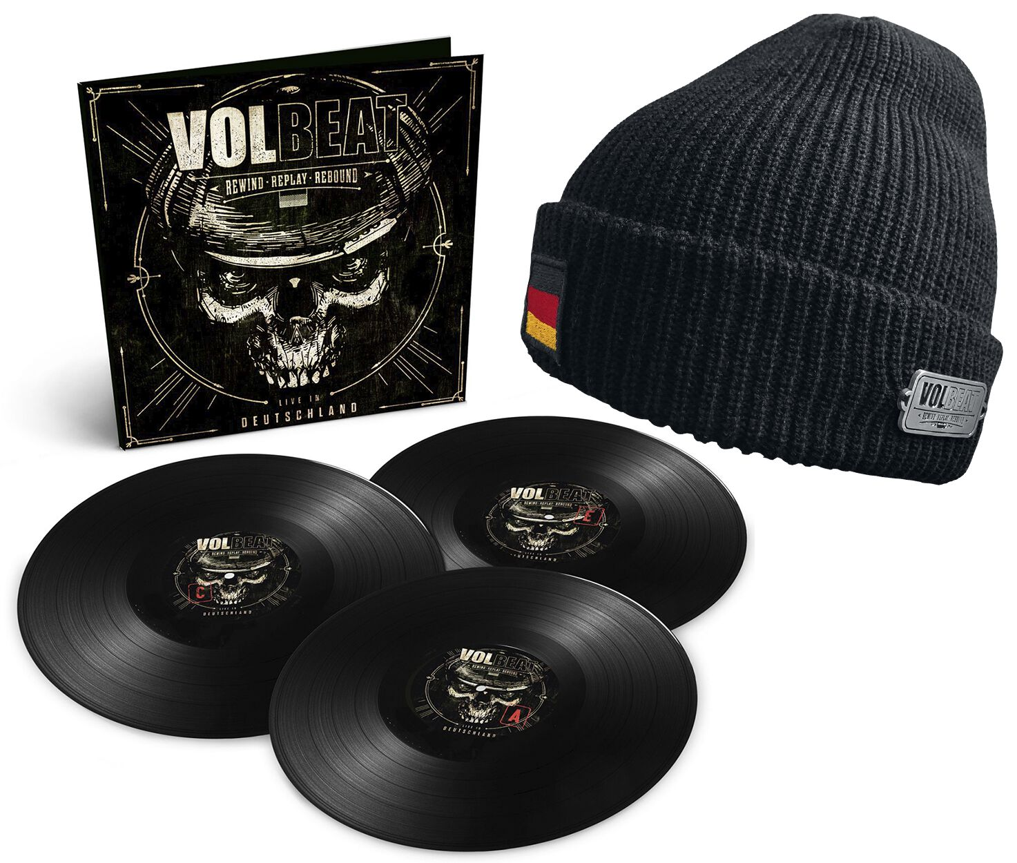 Image of Volbeat Rewind, replay, rebound: Live in Deutschland 3-LP & Beanie Standard