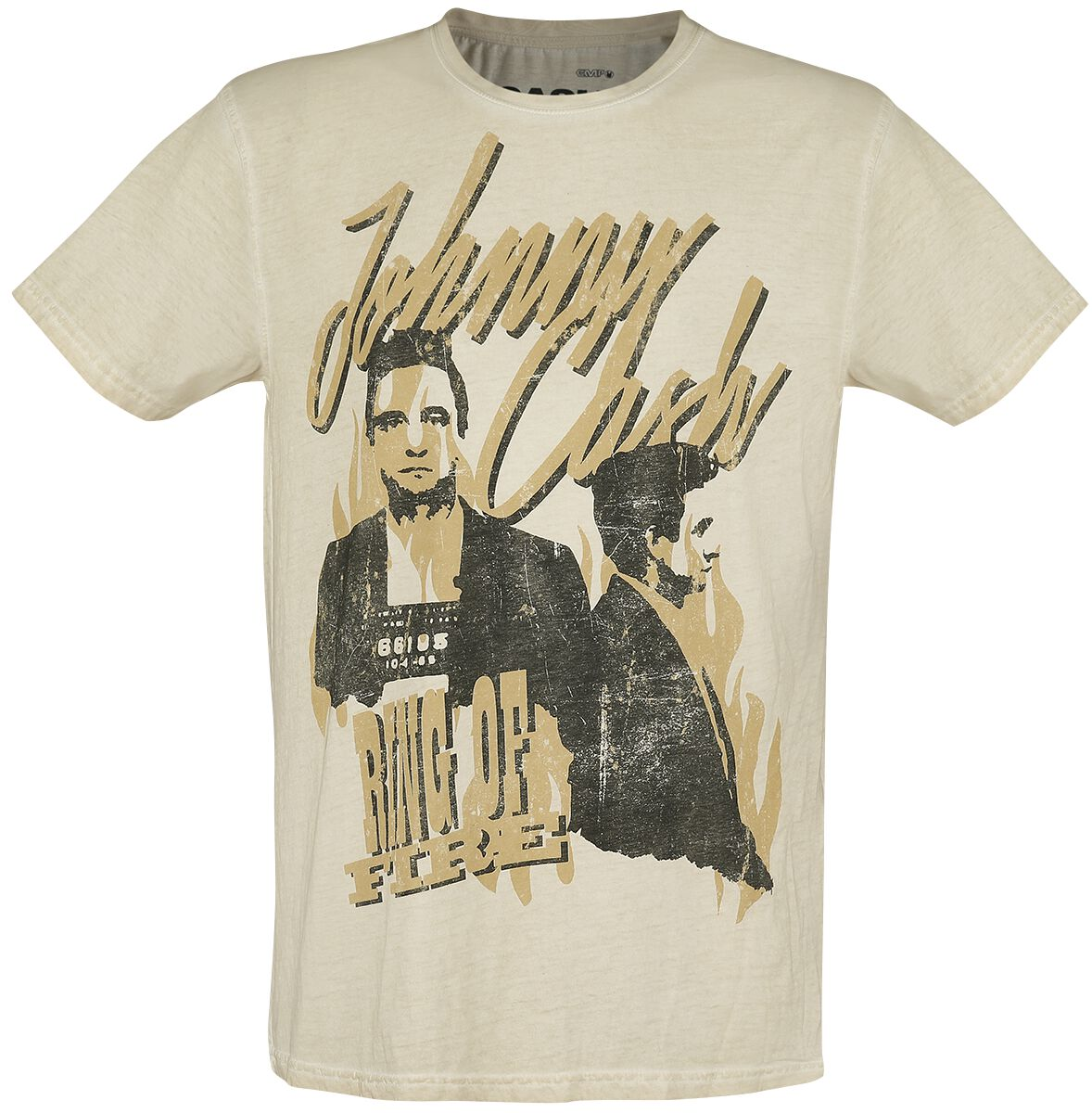 Johnny Cash Ring Of Fire  T-Shirt  sand