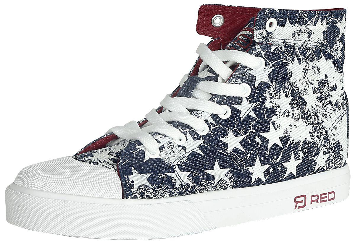Sneakers für Frauen - RED by EMP Walk The Line Sneaker blau weiß  - Onlineshop EMP
