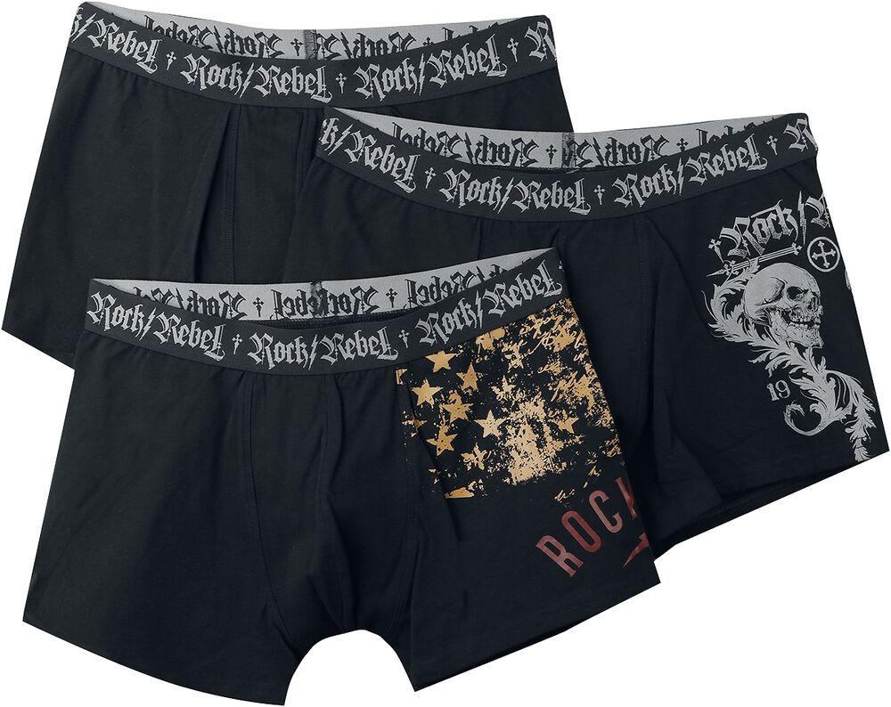 Schwarzes Boxershort-Set mit Prints