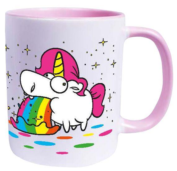 Einhorn Kotzendes Einhorn - Regenbogen Tasse weiß rosa