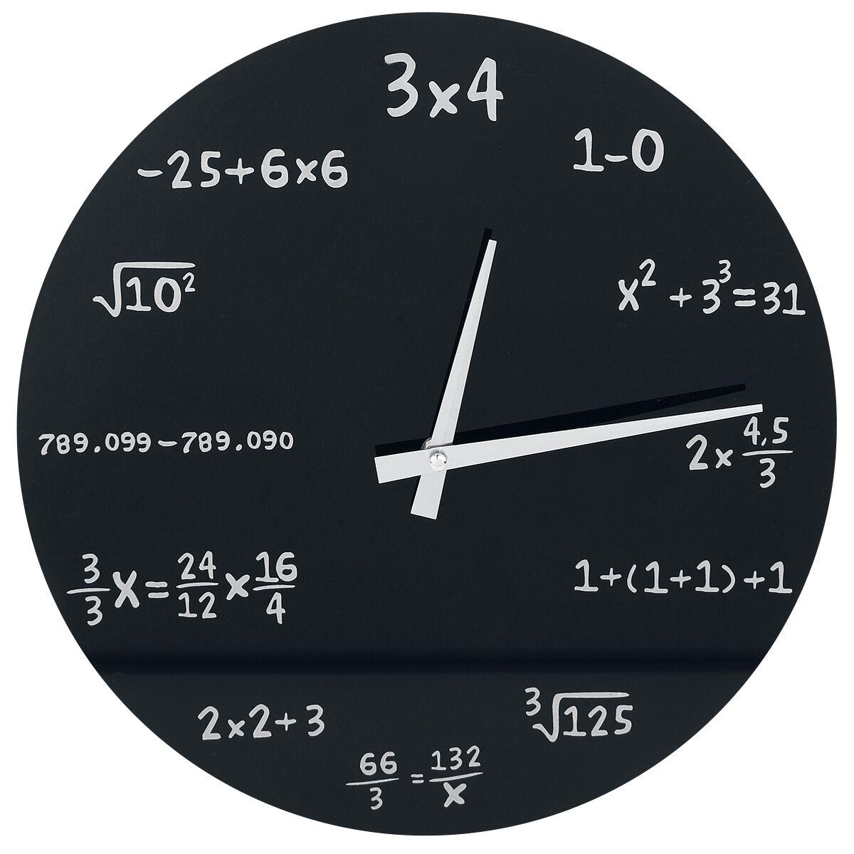 Mathematik Glas-Wanduhr   Wanduhr  schwarz