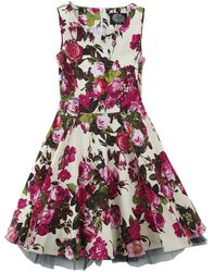 Audrey 50's Cream Floral Swing Dress