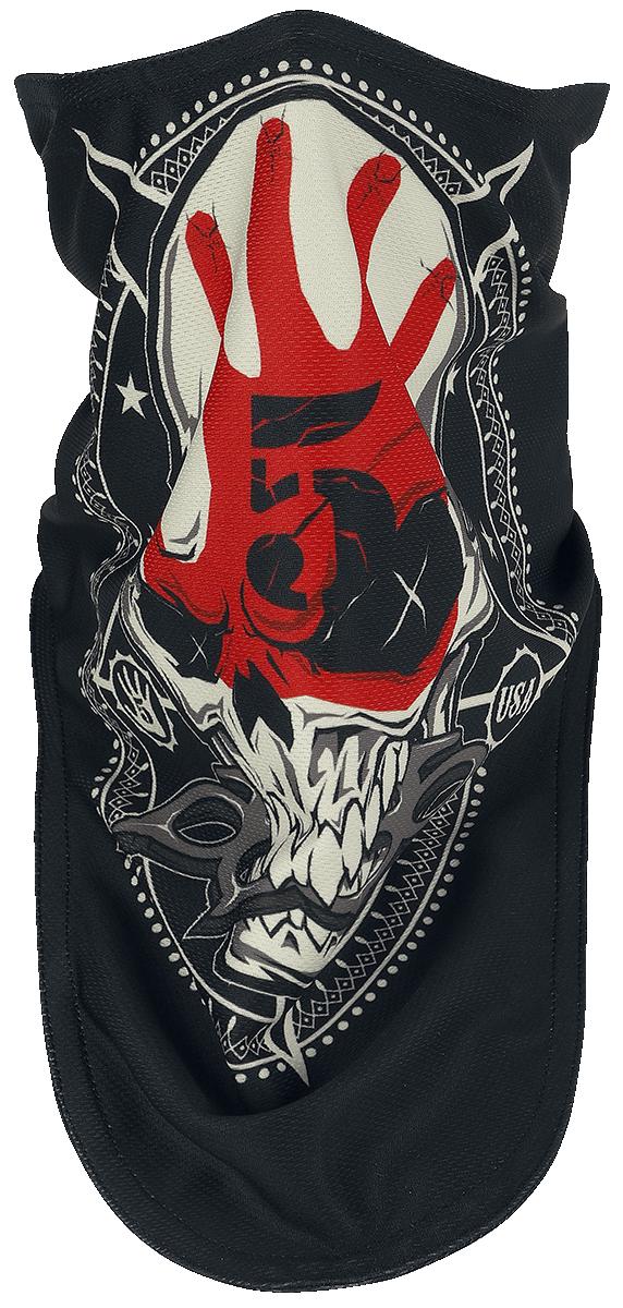 Five Finger Death Punch - Knucklehead Circle Biker Mask - Maske - schwarz  weiß  rot - EMP Exklusiv!