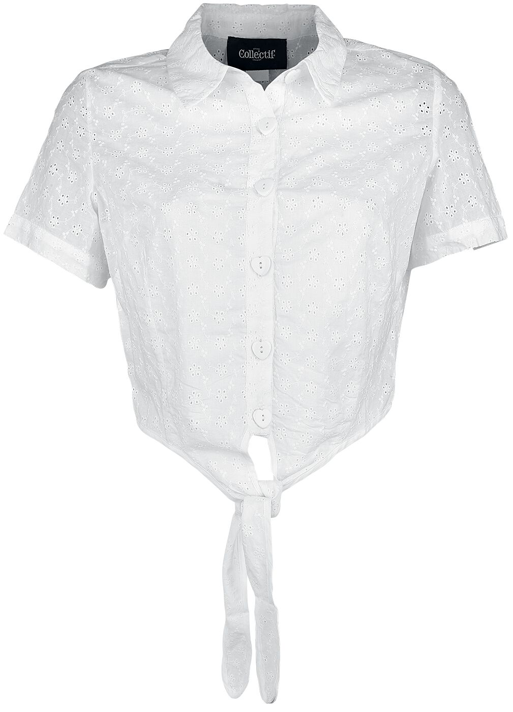 Image of Collectif Clothing Sammy Broderie Anglaise Tie Blouse Bluse weiß