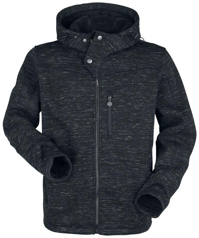 schwarze melierte Jacke mit Kapuze