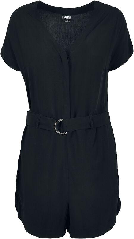 Ladies Short Black Viscose Belt Jumpsuit