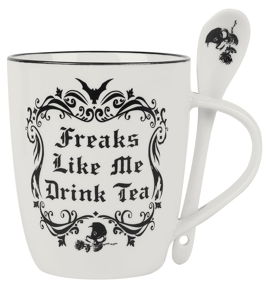 Alchemy England 1977 Freaks Like Me Drink Tea Tasse weiß schwarz ALMUG19
