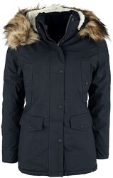 Navy Fur Hoody Long Coat