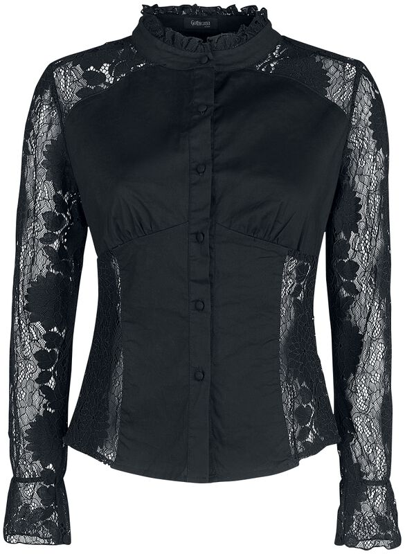 Schwarzes Hemd mit transparenter Spitze