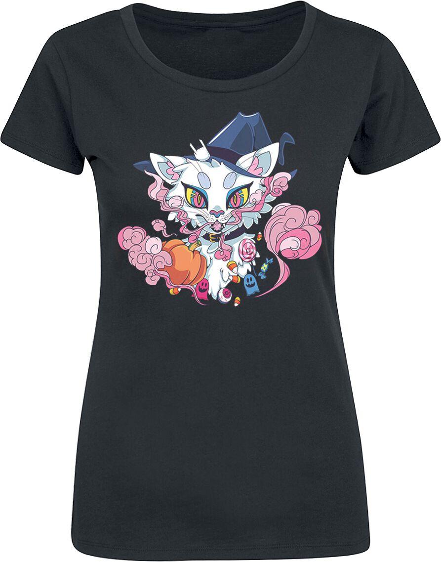 Halloween Cat T-Shirt schwarz POD - BY086 - Halloween Cat