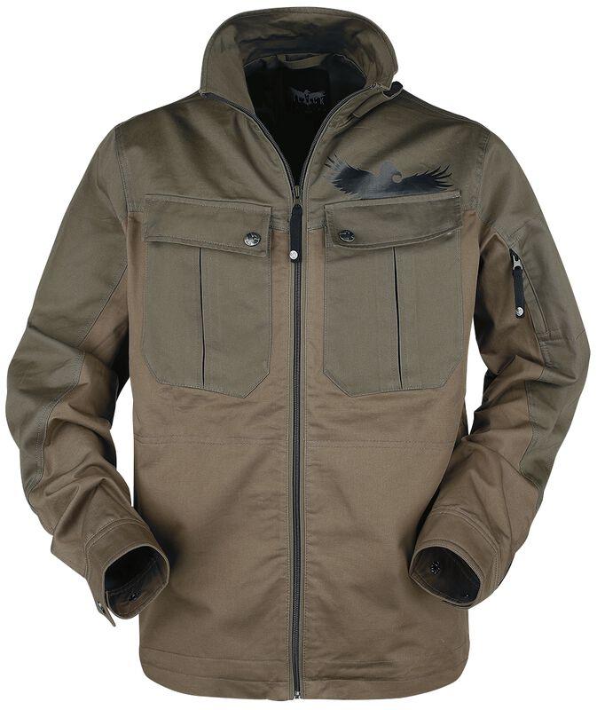 braune Jacke mit großen Brusttaschen