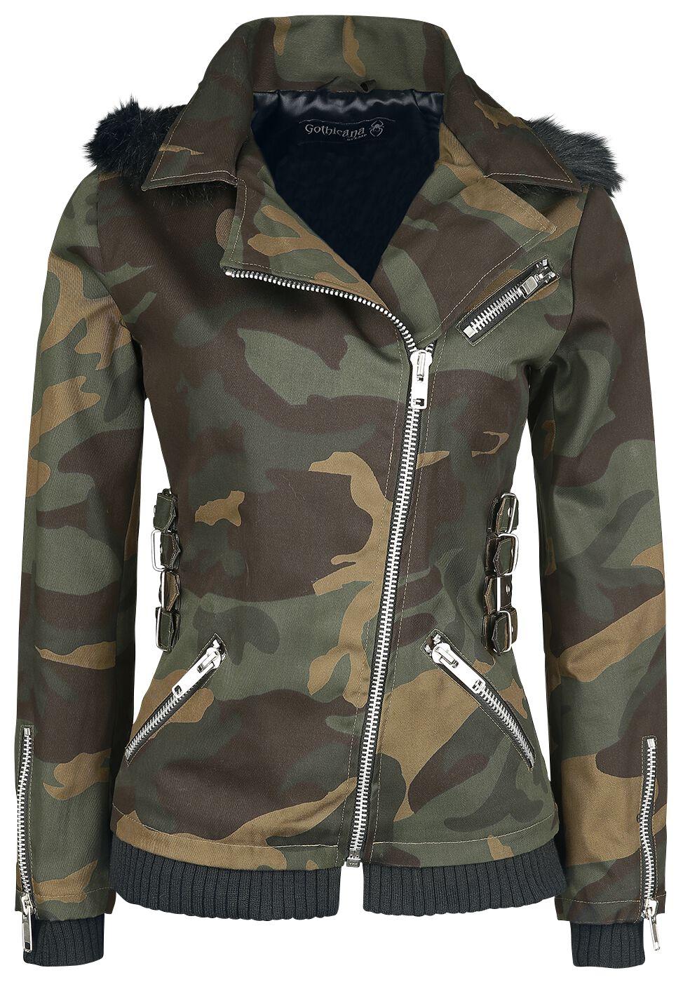 Jacken für Frauen - Gothicana by EMP All Over The Road Übergangsjacke camouflage  - Onlineshop EMP