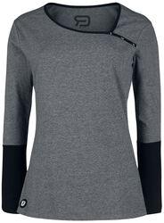graues Langarmshirt mit Knopfleiste und schwarzen Ärmeln