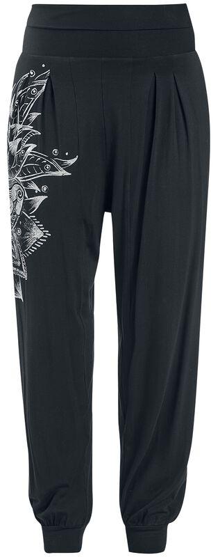 Sport und Yoga - Schwarze lockere Stoffhose mit detailreichem Print
