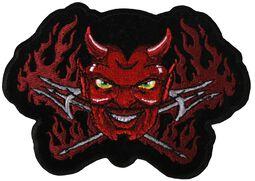 Patch: Brennender Teufel mit Dreizacken