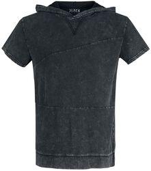 Schwarzes T-Shirt mit Waschung und Kapuze