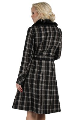 Kara Sea Double Breasted Plaid Dress Coat