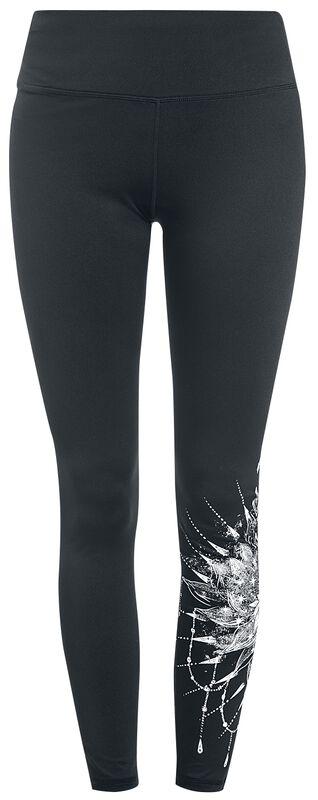 Sport und Yoga - Schwarze Leggings mit detailreichem Print