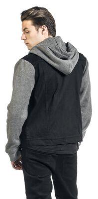 Sweat Sleeved Hooded Denim Vest