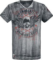 Graues T-Shirt mit V-Ausschnitt und Print
