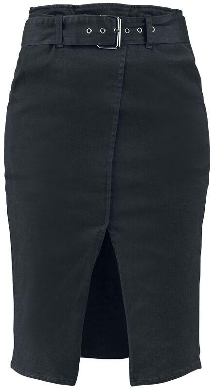 Long Belted Denim Skirt