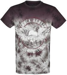 lila T-Shirt mit Waschung und Print