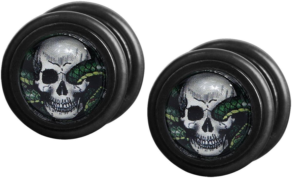 Image of Mysterium® Snake Skull Fake Plug Set schwarz