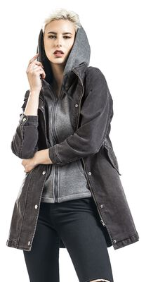 Schwarze Jeansjacke mit Sweatkapuze