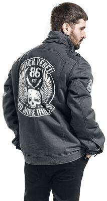 graue Jacke mit Sckullprint und Patches