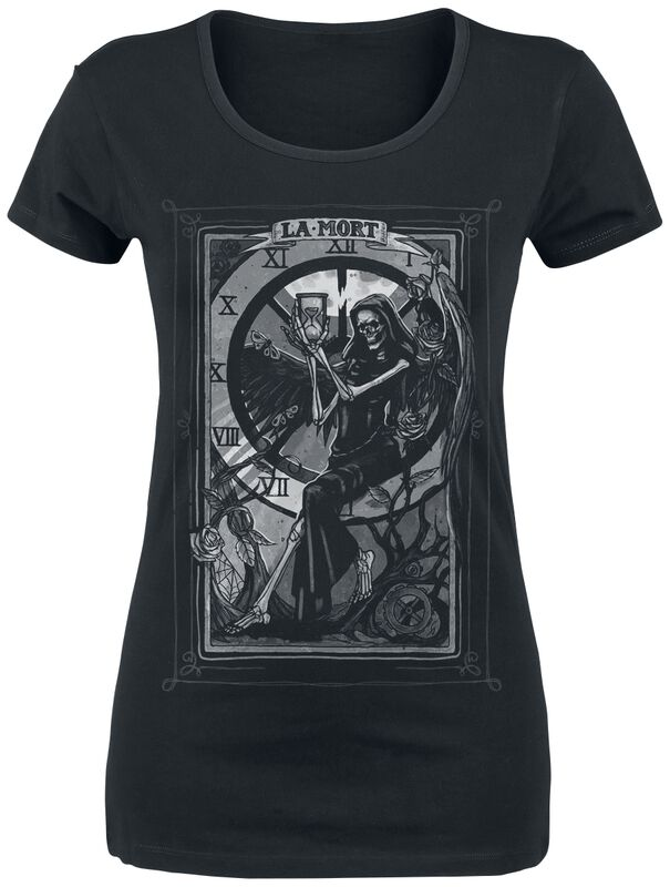 schwarzes T-Shirt mit Print und Rundhalsausschnitt