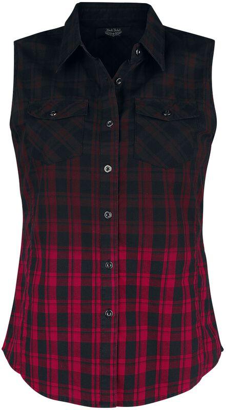 Schwarz/Rotes Ärmelloses Hemd mit Brusttaschen