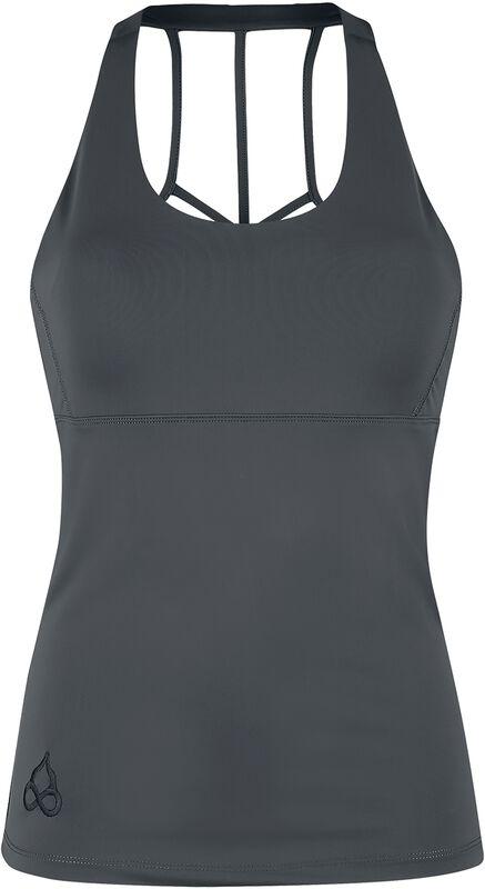 Sport und Yoga - graues Top mit besonderem Rückendetail
