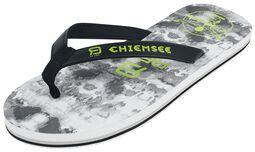 RED X CHIEMSEE - weiß/schwarze Flip Flops mit Logoprint
