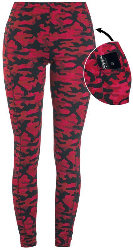 Rote Camo-Leggings mit seitlichen Taschen