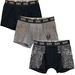 Schwarz/graues Boxershort-Set mit keltisch anmutenden Prints