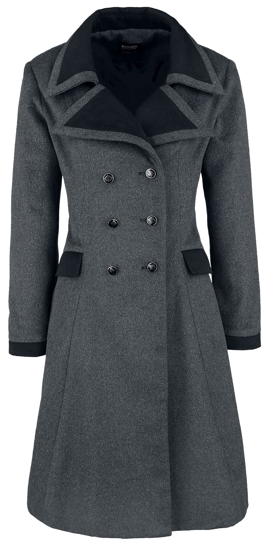 Image of Banned Alternative Retro Coat Cappotto donna grigio