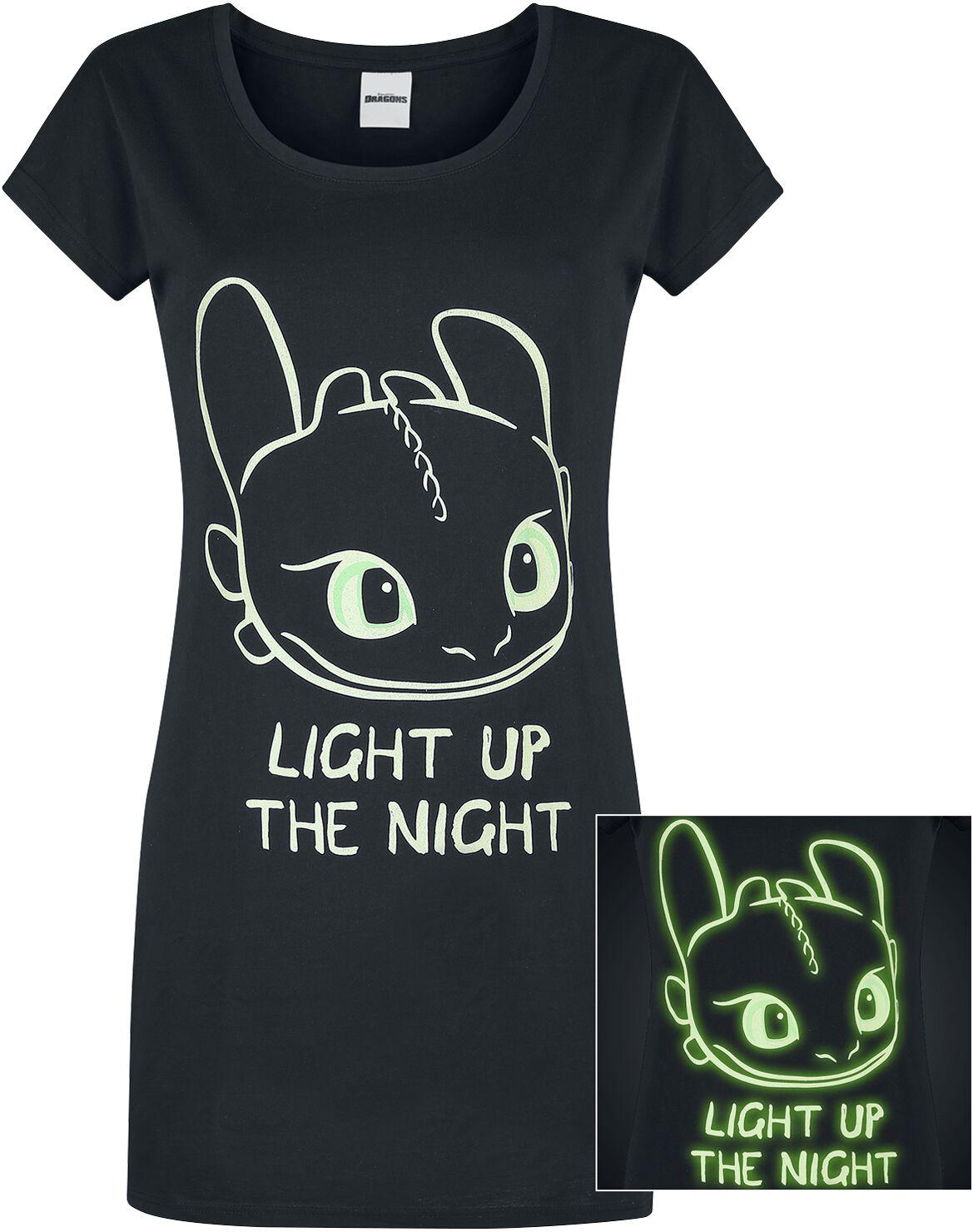 Drachenzähmen leicht gemacht - Light Up - Nachthemd - schwarz