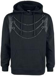 Schwarzer Kapuzenpullover mit Kettendetail