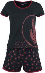 Schwarzer kurzer Pyjama mit Rockhand-Print