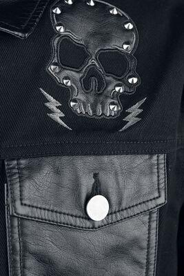 Jeansjacke mit Kunstlederdetails