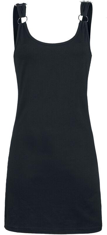 Schwarzes Kleid mit Ringen und Schnallen an den Trägern