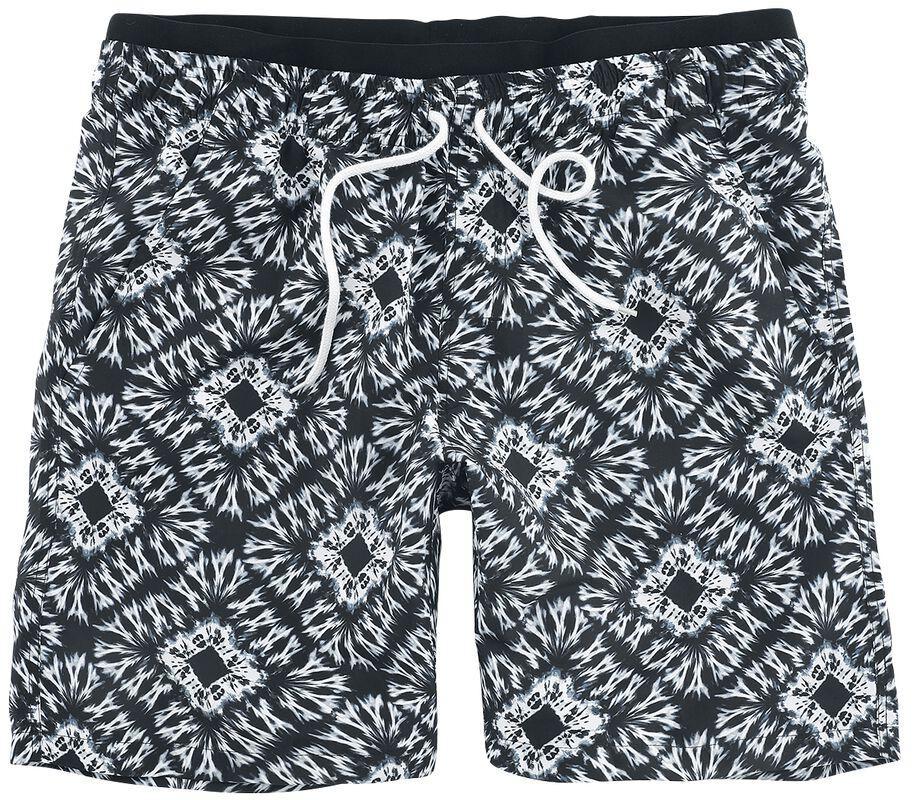 Schwarz/weiße Badeshorts im Batik Look