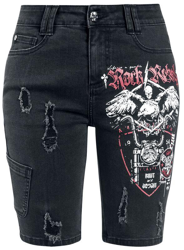 Schwarze Jeansshorts mit Print und Destroyed-Effekten